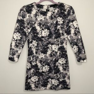 Zara Basics blacks and white floral mini dress